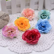 10pcs 4.5cm mini artificial flowers roses silk roses silk flower head DIY collage wedding party decoration real touch roses