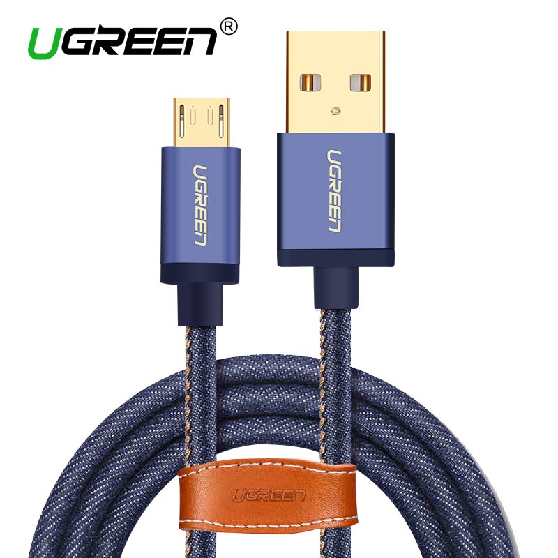 Ugreen Micro USB Cable 2M 1M Fast Charger & Data Cable Denim Braided Cable Mobile Phone USB Charger Cable Samsung HTC Huawei