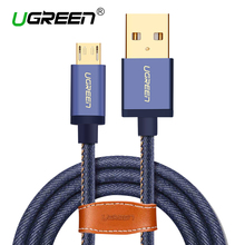 Ugreen Micro USB Cable 2M 1M Fast Charger & Data Cable Denim Braided Cable Mobile Phone USB Charger Cable For Samsung HTC Huawei(China)