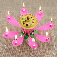 Romantic Musical Lotus Flower Birthday Candle Lights Cake Decoration Party Wedding Decoration Supplies