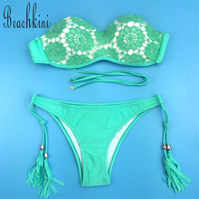 2017 Green Crochet Lace Bikini Set Floral Printed Swimsuit Women Sexy Bandage Swimwear Push Up Tassel Bathing Suit