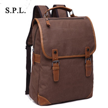 S.P.L new brand men backpack bag fashion casual canvas bag tote backpack vintage patchwork travel backpack for teenger boy