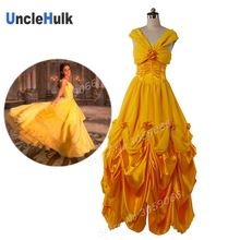 Princess Belle Costume - Beauty and The Beast (2017 New Movie Deluxe Golden Princess Evening Dress Emma Watson) | UncleHulk(China)