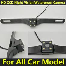 Auto Parking System License Plate Car Reversing Cam Back Up Parking 4 LEDS Night Vision Universal Rear View Camera