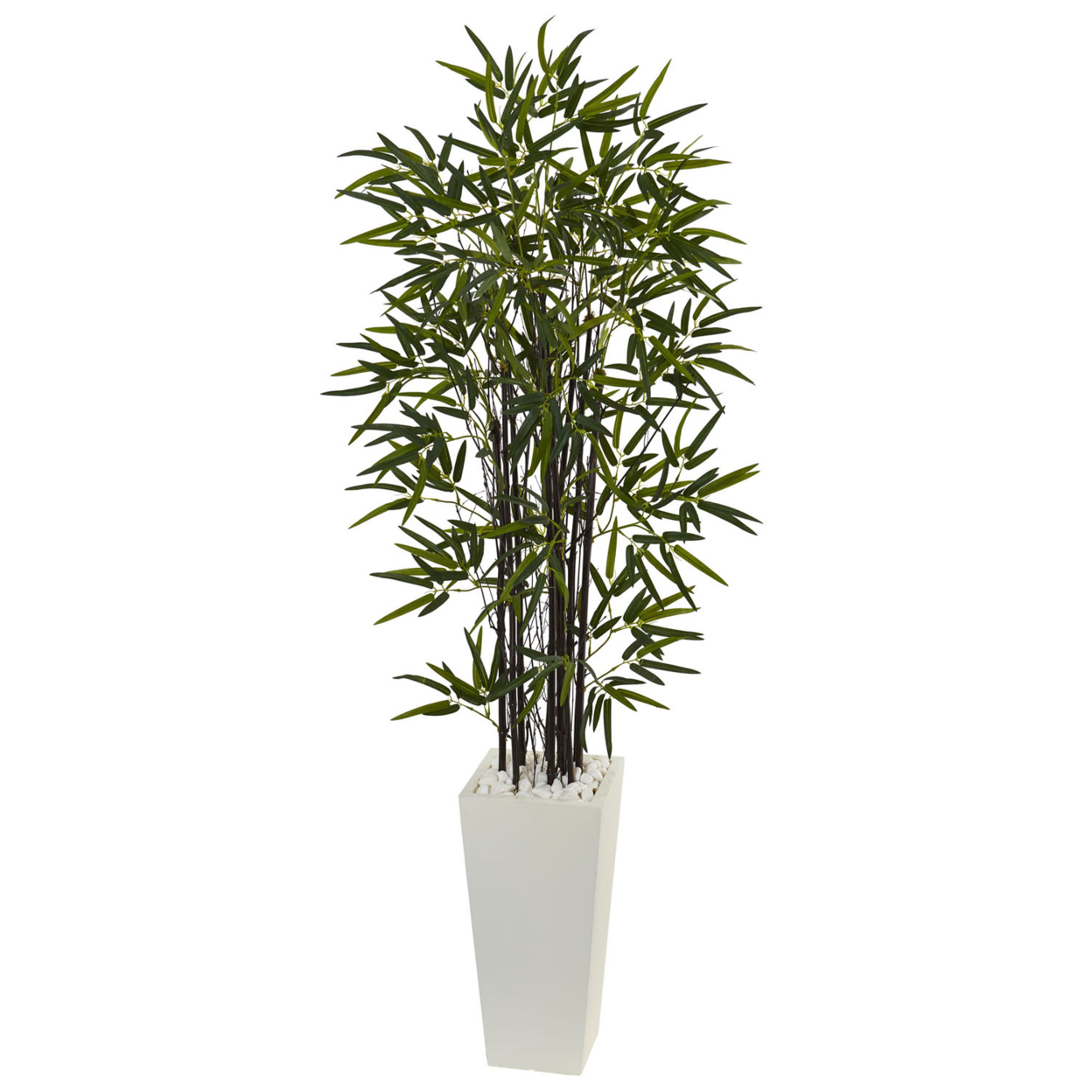 Nearly Natural 5.5\' Black Bamboo Artificial Tree in White Tower Planter