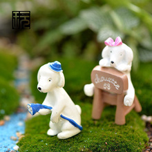 ZAKKA Resin Watering Dog Lover Cute Animals Model Fairy Garden Decoration DIY Terrarium Landscape Figurine Desktop Accessories