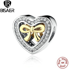 925 Sterling Silver Openwork Heart Charms with Bowknot Fit Pandora Original Bracelet DIY Jewelry Accessories WEUS300(China)