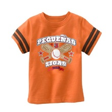 Orange Baseball Boys Clothing T-Shirts Cute Baby Boys Tops Sleeved Tees Shirts 100% Cotton 1-6Years Top Quality(China)