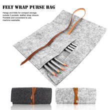 Portable Travel And Household Women Multipurpose Felt Wrap Purse Pouch Foldable Cosmetic Storage Bag for Makeup Brush Pen