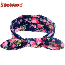 Rabbit Ears Elastic Flowers Bowknot Headbands girl hair accessories headband cute hair band newborn floral headband WJul26