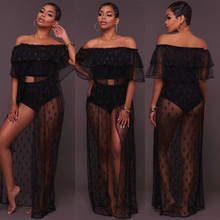 NEW Women Sexy Off Shouler Ruffles Crochet Bikini Beach Cover Ups Bathing Suit Stars Lace Long Dress Blouse Beachwear Sundress(China)