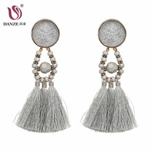 DANZE 7 Color FABRIC Tassel Earring for Women 2018 Spring Earthy Colors Bohemia Green Red Yellow Drop Earring Brincos Jewelry(China)