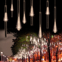 Waterproof AC 220V 30 /50cm LED Light Meteor Shower Rain 8 Tubes Snowfall Decorative Outdoor Tree Garden Christmas String Light(China)