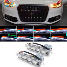 2Pcs Car LED Headlight Sequential Flasher Flowing Amber Turn Signal DRL Lights For Audi A4 B6 A3 A5 A7 A8 A6 A1 B4 B5 B6 Q3 Q5
