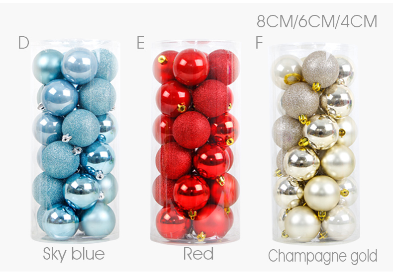05 inhoo 24PCSset Christmas ornament 468cm Christmas Tree Balls Baubles Xmas for Home Party Colorful Wedding Decoration Supplies