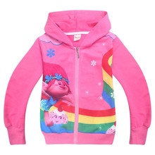 Girls T-shirt moana vaiana & trolls poppy rainbow flower printing long sleeve T shirts for boys Kids Clothing Children Hoodies(China)
