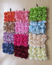 Free shipping 120PCS/LOT multicolor Mulberry Paper Flower Bouquet/wire stem/ Scrapbooking artificial rose flowers 004011
