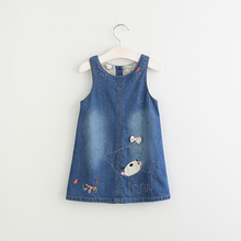 Fashion O-Neck Collar Bow Clothes Flower Sleeveless Children Girls Baby Denim Dress Lolita Character Animal Clothing 5pcs/LOT