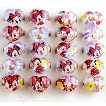 2017 new 100pcs Fashion lovely Cartoon Minnie Heart-shaped Love Kids Children Girl Ring Acrylic Ring Gift Shop(China)