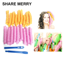 Free shipping 18pcs 55cm Magic Plastic Hair Curler Roller Curl Tool Hair styling DIY wave curler