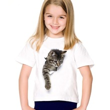 2017 fashion summer cute children brand clothing for kids girl short sleeve print 3d cat t shirts tops baby clothes(China)