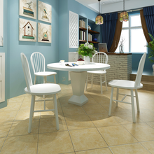 iKayaa Four round dining chairs white wood Chairs For Dining Room ES Stock