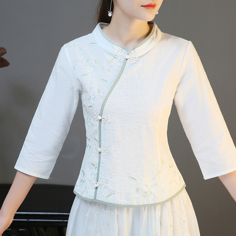 White Jacquard Tang Suit Tops Women's 2018 Spring and Summer Cotton Retro Slim Three Quarter Sleeve Traditional Chinese Clothing