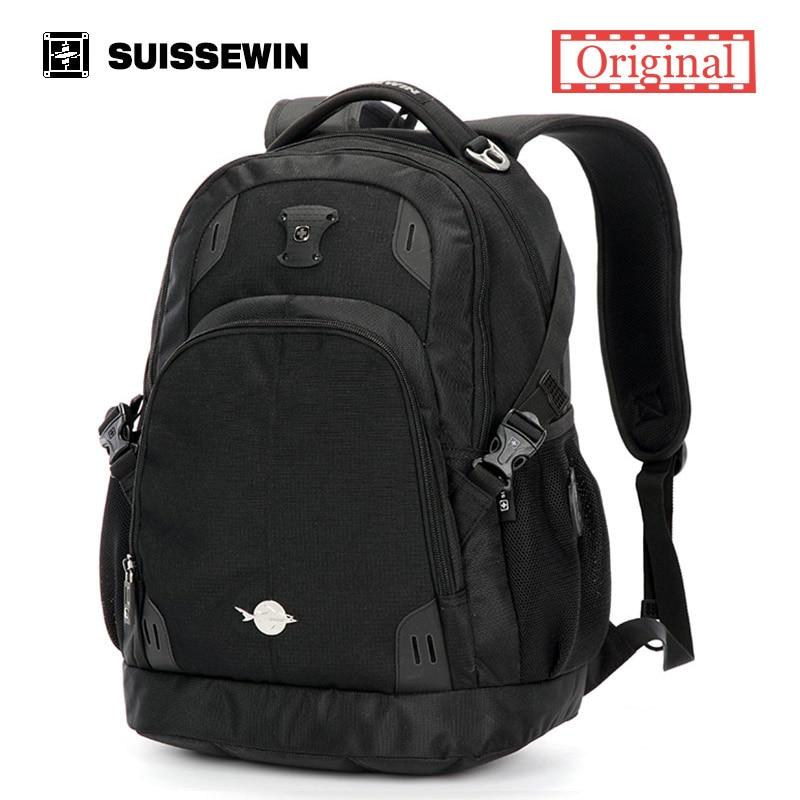 Suissewin Orthopedic School Backpack For Teenage Boys Wenger Swissgear Laptop Backpack Male Backpack Bag Women Satchel Bag Black<br>