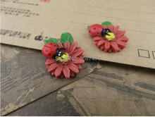 new resin flower, resin jewelry accessories, handmade DIY jewelry materials Sunflower insect ladybug Specials 19mmx24mm 15pcs