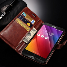 Wallet Cover Case For Asus Zenfone 4 A400CG PU Leather Flip Style Cover With Card Holder Stand Phone Bag Cases For Zenfone 4(China)