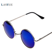 LANYUE Vintage Round colour Sunglasses Women Reflective Sun glasses Female Women's Shades Brand Designer UV400 Gafas de sol(China)