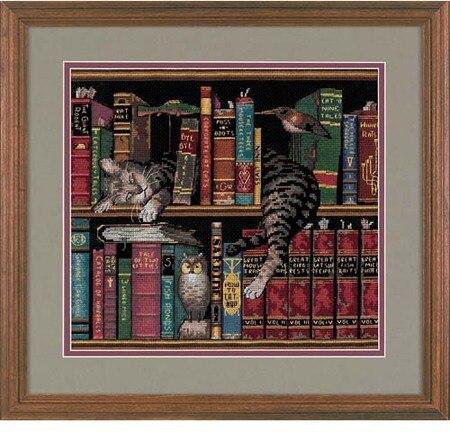 cs-2502 Cross Stitch Kit Cat Sleeping on Bookshelf Kitten Kitty Sleep dim 35048