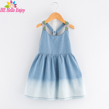 HE Hello Enjoy girls dresses cotton summer 2017 children evening dress kids sleeveless Condole belt denim party princess dress