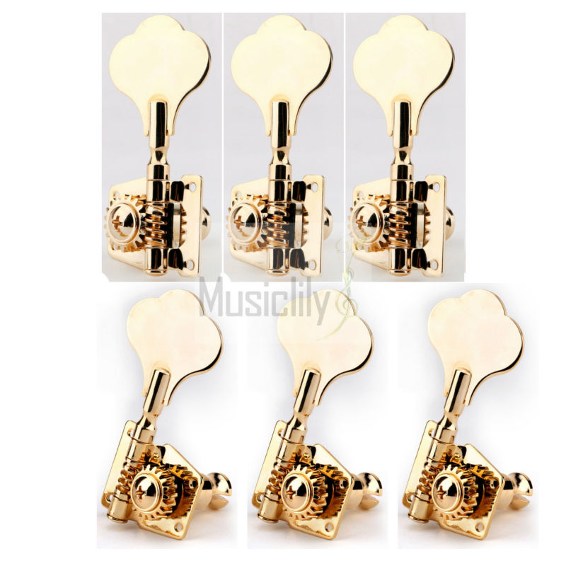 6Pcs / Set 3R3L Gold Bass Open Gear String Tuning Pegs Machine Heads Tuners<br>