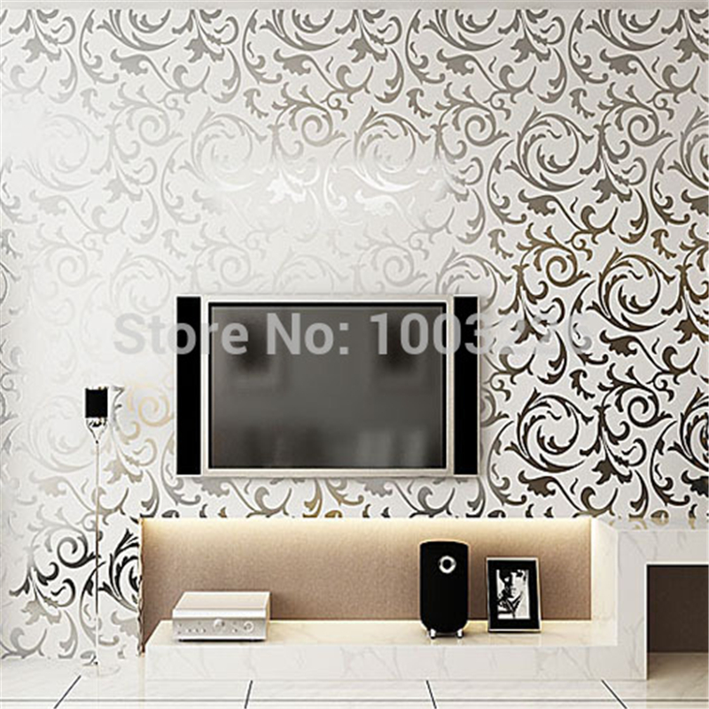 Silver Glitter Wallpaper Gold Foil DAMASK Wall Papers for Bedroom Living Room TV Background Decor papel de parede para quarto<br><br>Aliexpress