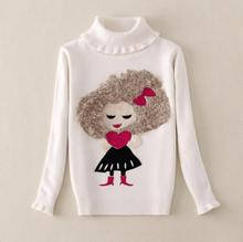 4 6 7 8 9Y Character Girls Turtleneck Sweaters Pullover Full Sleeve Children Autumn Spring Kids Sweater For Girls AS-1510