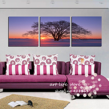 3 panels Wall Art Picture Printed Painting Sunset Tree Feeling Excellent Around Christmas Wall Pictures For Living Room