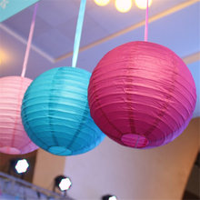 1Pcs 10/15/20/25/30CM Round Chinese Style Tissue Paper Lantern Lampion Ball Hanging Paper Ball For Home Wedding Party Decoration(China)