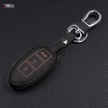 Top layer Leather remote control car keychain key cover Case for Nissan For Infiniti EX FX G25 G37 FX35 EX25 EX35 FX37 EX37 Q60(China)