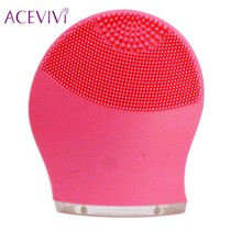 ACEVIVI Skin Care Electric Face Cleanser Brush Pore Clean Facial Cleansing Silicone Brush For Face Wash Spa Vibrate Massager(China)