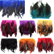 Free shipping- 1yard/color Coque Rooster Tail Feather Fringe,rooster feather trimming 5-6inch width(China)