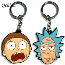 Rick and Morty Key Chains Action Figure Collection Toy Q vision keyring pendan Rick and Morty Bobble Head Q Edition Keychain(China)