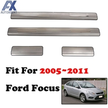 AX Stainless Door Sill Panel Scuff Plate Kick Step Cover 2005 2006 2007 2008 2009 2010 2011 For Ford Focus 2 Mk2 Trim Protector