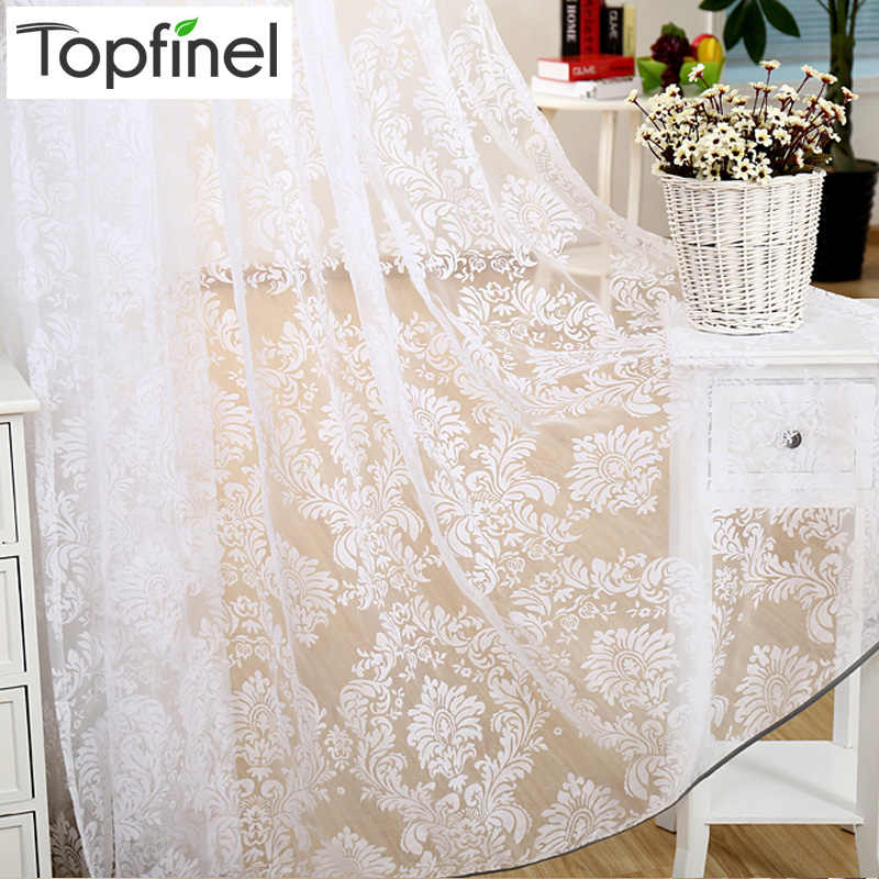 Top Finel modern cheap flocked tulle for window sheer curtains for kitchen living room the bedroom door blinds curtain fabric