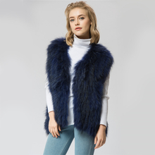 VR041-2 Knitted Real raccoon fur vest/ jacket /overcoat Russian women's fashion winter warm genuine fur vests ourwear