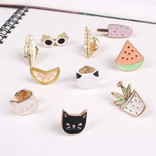 ShuangShuo Fashion Cartoon Enamel Pins Cat Brooches for Women Clothes Feather Bag Pins and Brooches Vintage Flower Brooch Pin(China)