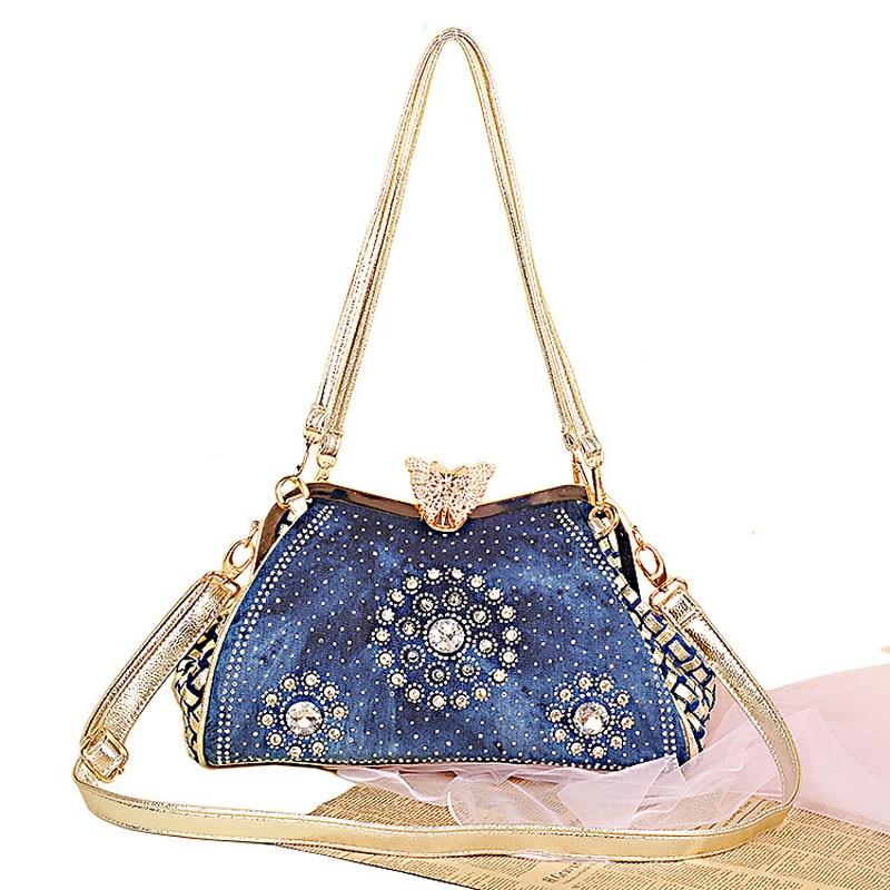 Ladies Handbags Women Fashion Bags Brand Design Women Shoulder Bags Denim Rhinestones Decorative<br><br>Aliexpress