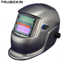 Car spray paint Li Battery+Solar auto darkening welding helmet/ mask with the PP shell and safeguard of the glass for welder(China)