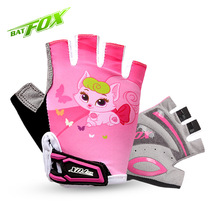2017 BATFOX Kids Girls Boys Cycling Gloves Half Finger Summer Breathable Padded Safety Outdoor Protection Children Bike Gloves