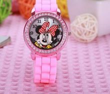 fashion minnie mouse girls Ladies women crystal Watch kids children cartoon silicone sport watches 1pcs/lot(China)
